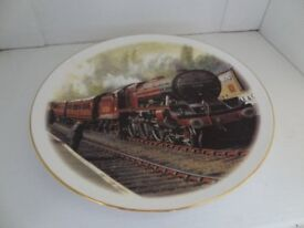 COLLECTORS PLATE, STEAM TRAIN, ROYAL VALE BONE CHINA, 8.5 inches dia., EXCELLENT CONDITION