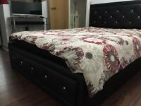 Hollywood faux leather ottoman double bed