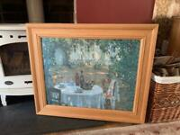 Large Ash Wood Framed Gallery Henri La Sidaner 'Table in the Sun' Picture 80x66cms