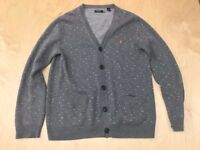 Mens light grey FARAH cardigan jumper top size M