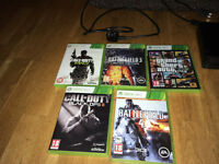 XBOX 360 SLIM 500GB WITH 2 RECHARGEABLE CONTROLLERS, TWIN CHARGING DOCK, 5 GAMES, GOOD CONDITION