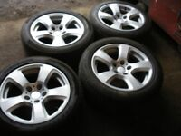 VW T5 ALLOY WHEELS, EX CONDITION WITH CENTRE CAPS AND CORRECT SPIGOT RINGS