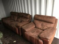 Half Leather / Suede Twin Recliner Sofa & Armchair - Good Condition