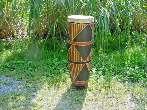 """HAND CARVED AFRICAN TALL TOM DRUM 26"""" by 8"""""""