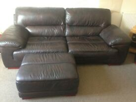 18 month old chocolate brown leather sofa, chair and pufet
