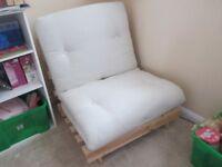 Single Futon Sofa Bed with Mattress - Natural Frame