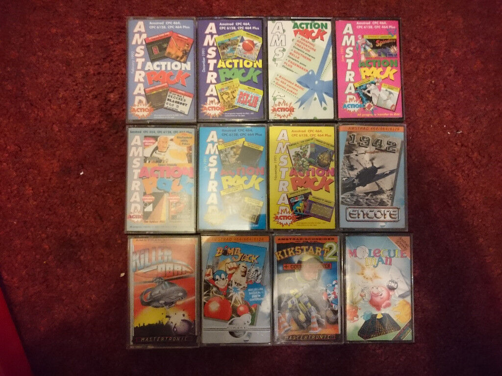 Amstrad CPC 464 game tapes. 12 off.