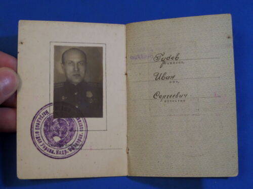 WW2 real photo Soviet russian document Order book 2 Red Star For Battle Merit