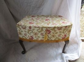 A retro embroided work box with satin lining in very good condition
