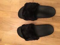 Women's black fury flip flops/sliders size 6
