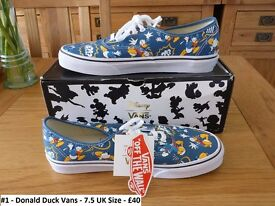 Disney Donald Duck Vans UK Size 7.5 Trainers Shoes Converse RARE Discontinued Cartoon Collectable
