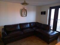 Dark Brown Corner Leather Sofa