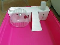 Hamster cage, bright pink, plus toys and accessories