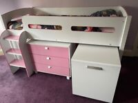 Single Mid Sleeper Cabin Bed with drawers, shelves and desk