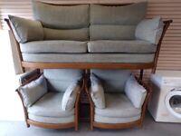 Ercol Renaissance 3 Piece Suite. Sofa & 2 Armchairs. Good Condition