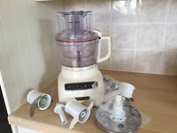 Kitchen Aid 2.1L food processor cream colour under a year old as New with box