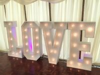 Giant Light up LOVE letters 4ft Hire for Weddings only £139 delivered Beds, Herts, Bucks & Cambs