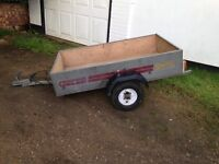3'x5' galvanised trailer. Full working lights. Ply lined. Canvas cover. Good wheels and tyres.