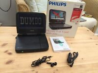 """PHILIPS PORTABLE 7"""" WIDESCREEN DVD PLAYER"""