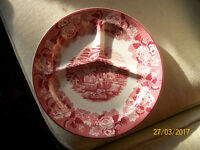 4 Enoch Woods Sons Ware 1920s - 1940s Pink red White English Scenery Divided Plates Dinner Job Lot