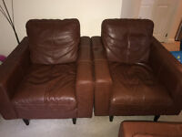 DFS 2 Leather Brown chairs and 4 seater leather Brown sofa