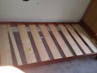 Single solid oak wood bed