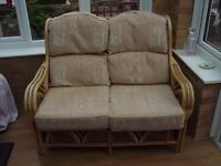 2 Seater quality cane sofa ideal for conservatory or sun lounge