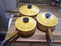 Set of 3 Le Crueset cast iron saucepans - never used