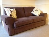 """""""ScS"""" 3 seater fabric Sofabed in chocolate brown. New retail price £999"""
