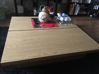 Large Beech Coffee Table With Storage