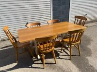 Oak Table & 3- Pairs of Chairs