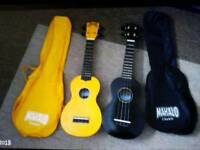 One mahalo ukeleleone yellow. and cases