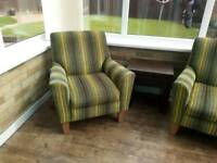 Two next green striped occasional chairs