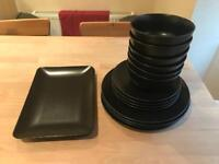 Dinner Service Crockery Set Black