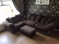 Chocolate brown fabric corner sofa with footstool (CSL)