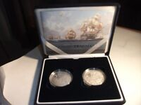 Set of 2 Silver Proof £5 Coins ~ Nelson & Trafalgar, Dated 2005 ~ In Case & With C.O.A.