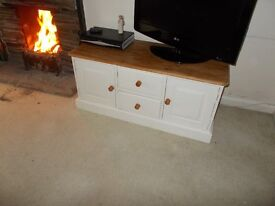 Painted Pine TV/Low Unit in Laura Ashley Ivory