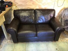 2 x Brown Leather 2-Seater Sofas