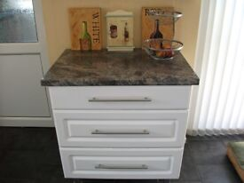 Kitchen / utility 3 drawer unit. Dark grey/black work top and white drawer fronts