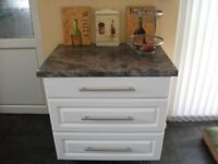Kitchen / utility 3 drawer unit. Dark grey/black work top and white drawer fronts