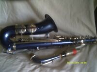 VINTAGE ALTO SAX BUT In DEEP METALLIC BLUE with SILVER KEYS plus M/P & BLUE CASE ++++