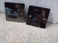 Four x Black nickel flat plate electrical sockets for sale
