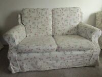 Two seater settee and two armchairs free for collection. Washable Plumbs covers.
