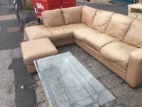 Beige leather corner suite sofa