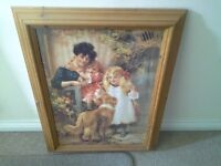"""Solid pine, framed photo, approx30 """" × 20 """", mother, child, and dog picture."""