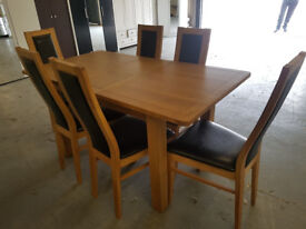 EX DISPLAY Solid Wood Dining Table and 6 Chairs - Black