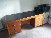 Wooden desk with leatherette top