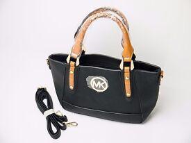Michael Kors black brown leather shoulder handbag
