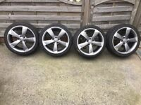 "4 X GENUINE AUDI A3 18"" ROTOR ALLOY WHEELS AND TYRES - VW ALLOYS - EXCELLENT CONDITION"