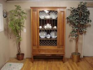 Antique Leaded Glass China Hutch